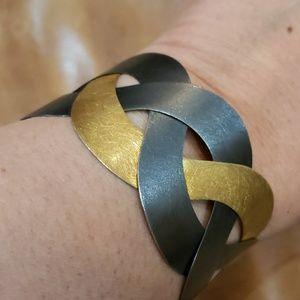 Mixed metal adjustable cuff bracelet